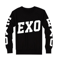 Exo Same Exo Printed On The Sleeve And Front Black Hoodies Kpop O Neck Pullover Sweatshirt