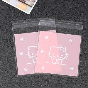 500 шт., милые целлофановые пакеты для печенья Hello Kitty, пакеты для свадебного печенья, пластиковая конфетная упаковка с самоклеящейся упаковко...