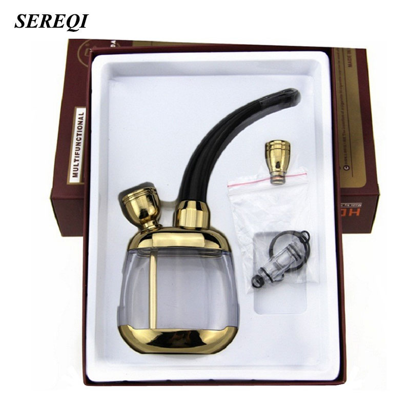 SEREQI Mini Tobacco Pipe Filter Shisha Hookah Double Circulation Water Tobacco Pipe Types Cigarette Holder Pipe For Smoking Weed