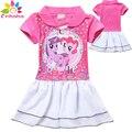 Enbaba девушки одеваются suumer 2016 дети платья для девочек Мультфильм эльза с коротким рукавом розовый пони платье партии принцессы свадебное платье