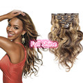 Full Shine2016 7 Pcs Highlighted  Brazilian Human Hair Clip Ins Body Wave 4/27 Brown And Blonde Cheap Real Human Hair Extensions