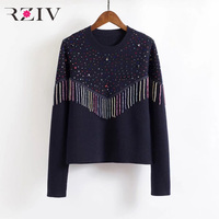 RZIV Spring women's sweater casual solid color beaded decorative sweaters