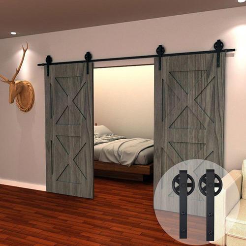 Double Wood Sliding Door Barn Track Hardware Barn Door Rail Hardware Sliding Door Track Kit Barn Door System Slide Kit