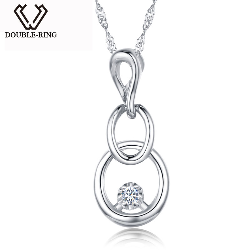 DOUBLE-R Long Pendant Necklace Women 0.03ct Diamond Solid 925 Sterling Silver Gourd Shape Pendants Birthday Gift Diamond-Jewelry