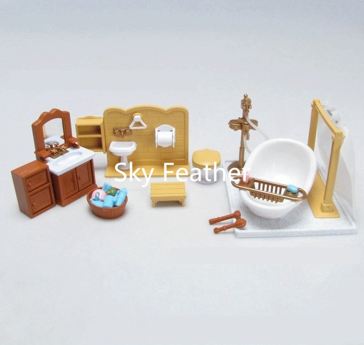 suit for Sylvanian Family figure Bath room set doll house mini furniture DIY pretend toy gift