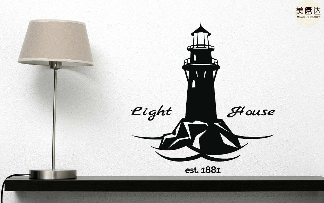 Wall Vinyl Sticker Decal Lighthouse Tower Beacons Beach Decor