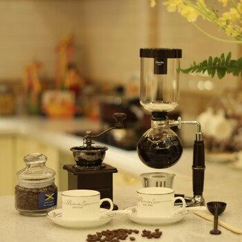 豆研削盤サイフォンポットの手動タイプ古代の方法にコーヒーポットセットボックス家庭用ガラスコーヒー器具
