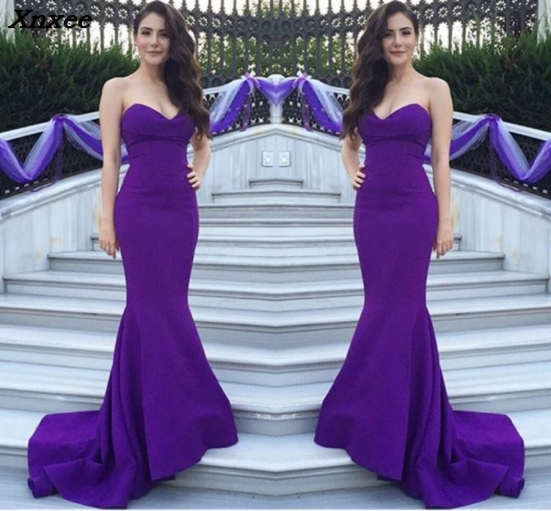 <font><b>2018</b></font> New <font><b>Sexy</b></font> Satin Strapless Lace Up <font><b>Bodycon</b></font> Mermaid Wedding Party <font><b>Dress</b></font> Purple Floor Length Evening Maxi <font><b>Dress</b></font> Plus Size Xnxee image
