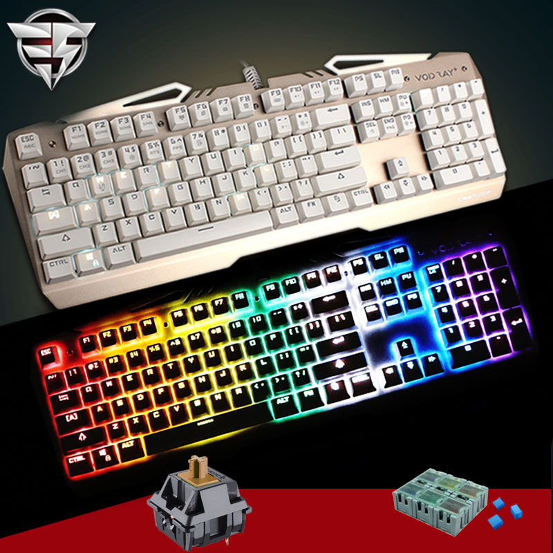 TEAMWOLF VODRAY Mechanical Keyboard 104 MX CHERRY black blue brown switches Backlight Metal Panels Gaming Keyboard For Laptop PC gigabyte keyboard gigabyte osmium cherry mx brown