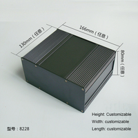 1 unidades de color gris carcasa de aluminio caja para la caja de proyecto de electrónica de 80 (H) x166 (W) x130 (L) mm