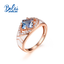 Bolai jewelry,Created London blue topaz gemstone jewelry set ring earring 925 sterling silver for women wife best gift недорого