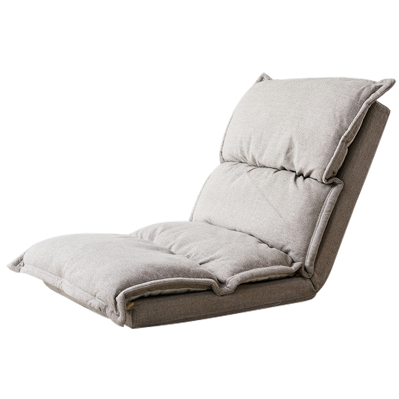 цена Floor Folding Beige Color Upholstered Chaise Lounge Living Room Furniture Foldable Legless Nap Sofa Modern Lazy Day Bed Chair