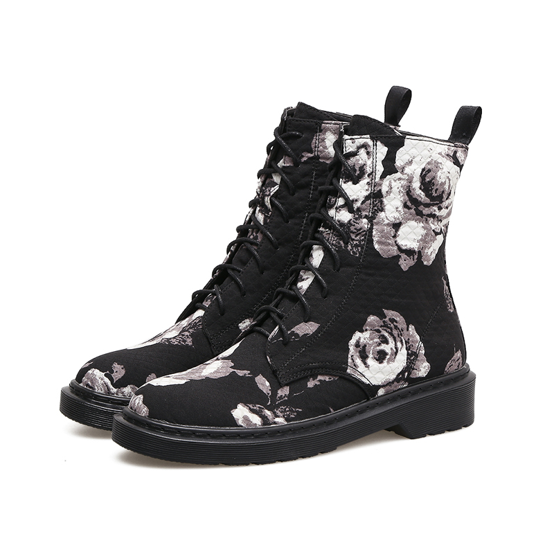 Women Flat Boots Fashion Women Martin Boots Casual Flowers Print Shoes Fall Winter Lace Up Rubber Ankle Boot Vintage Lady Boots vintage blooming flowers lace baggy beanie