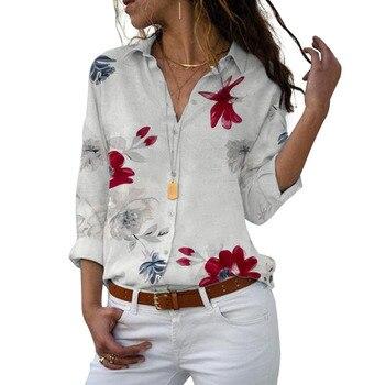 Long Sleeve Women Blouses 2021 Plus Size Turn-down Collar Blouse Shirt Casual Tops Elegant Work Wear Chiffon Shirts 5XL 5
