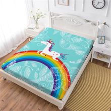 Cartoon Unicorn Bed Sheet Colorful Rainbow Fitted Sheet Multi-Color Flowers Print Bedclothes Deep Pocket Mattress Cover D35 цена