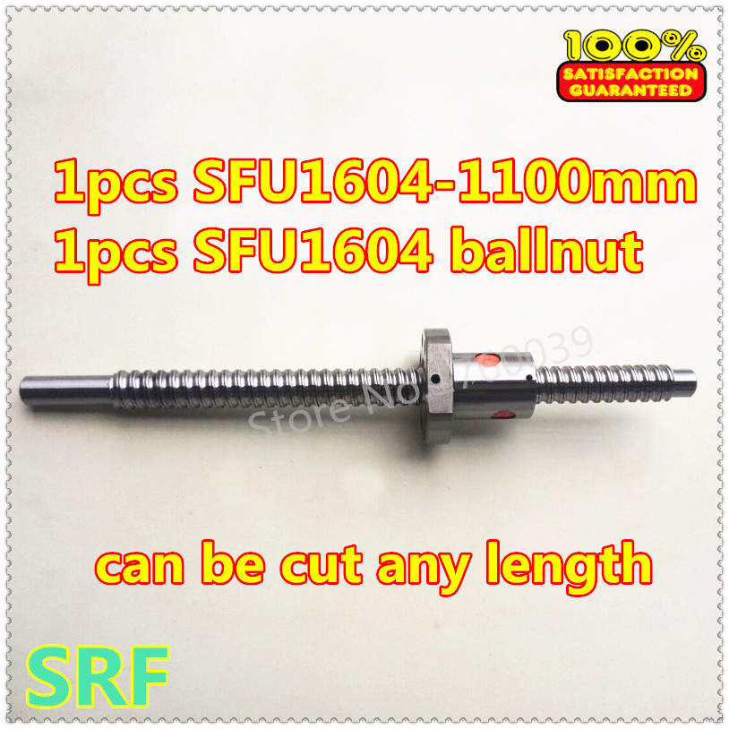 1pcs ball leading screw SFU1604 16mm Rolled Ballscrew L1100mm +single ballnut steel(can be cut any length) sfu3210 ball screw l1000mm ballscrew 1pcs single ballnut