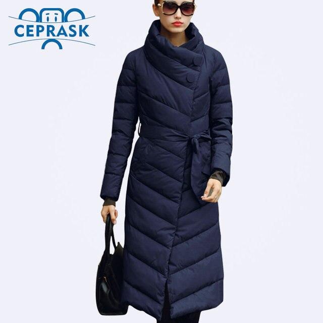 Ceprask 2016 Высокое Качество женские зимние пуховик Плюс Размер X-долго женский пальто Тонкий Пояс Мода Теплый куртка casaco camperas