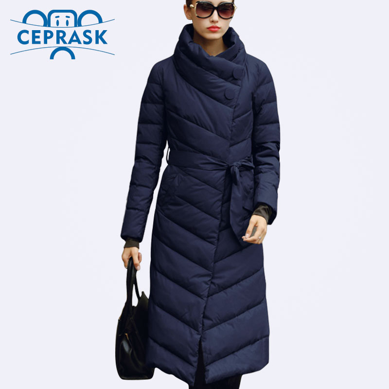 Ceprask 2018 High Quality women's winter Down jacket Plus Size X-Long female coats Slim Belt Fashion Warm   Parka   camperas casaco