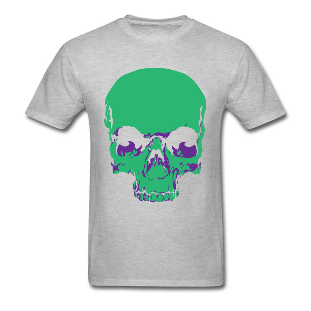 Male Fashionable Design Tops & Tees Crew Neck Summer All Cotton Tshirts Funny Short Sleeve Skull green T-Shirt Skull green grey