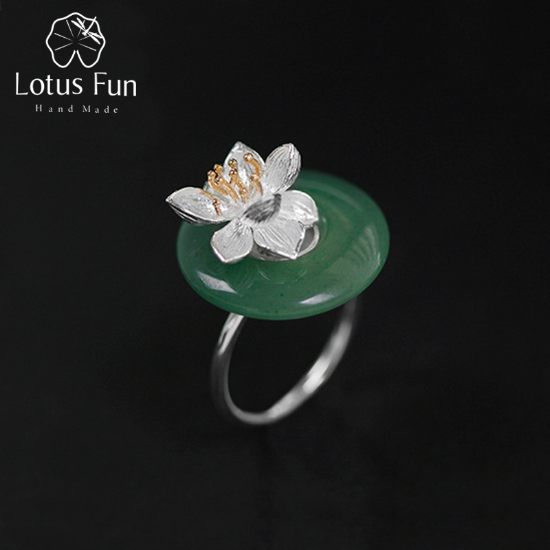 Real 925 Sterling Silver Natural Green Stone Creative Handmade Fine Jewelry Lotus Whispers Ring for Women Brincos