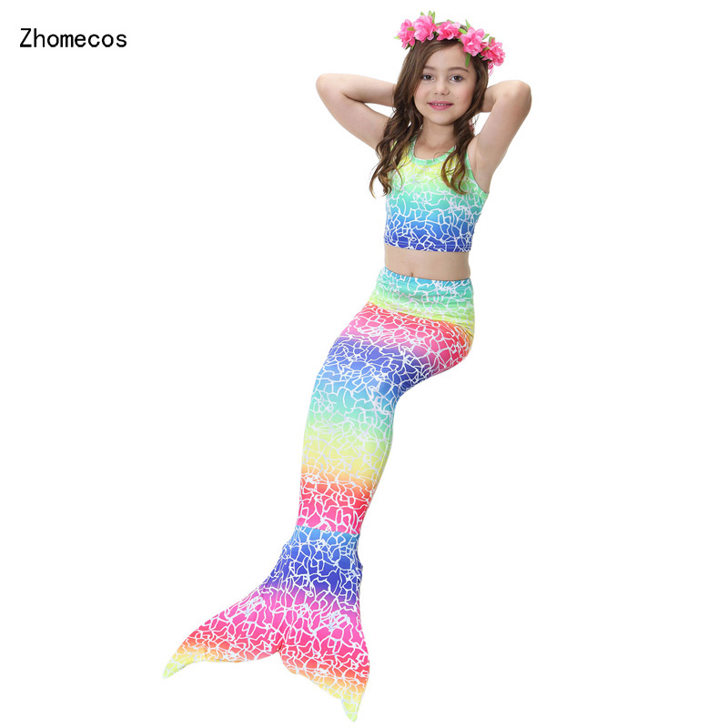4Pcs Girl's Mermaid Tails Swimming Suit Costumes with Monofin Kid Zeemeerminstaart Cola De Sirena Cauda De Sereia Cosplay