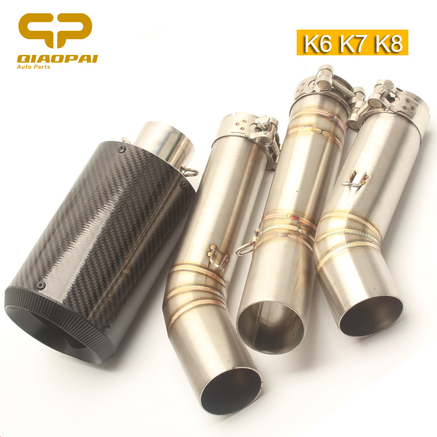 Motorcycle Exhaust Pipe Carbon 51MM Muffler Link Mid Tube Escape Moto for Suzuki GSXR600 GSXR750 K6 K7 K8 AR Full Exhaust System цена
