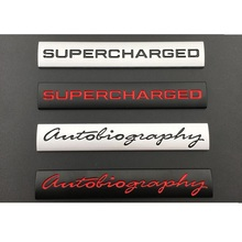 Silver Black Autobiography  SUPERCHARGED Trunk Letters Badge Emblem Emblems Badges for Discovery Range Rover