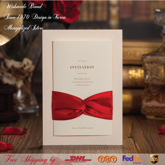 gorgeous white wedding invitations with red ribbon printable
