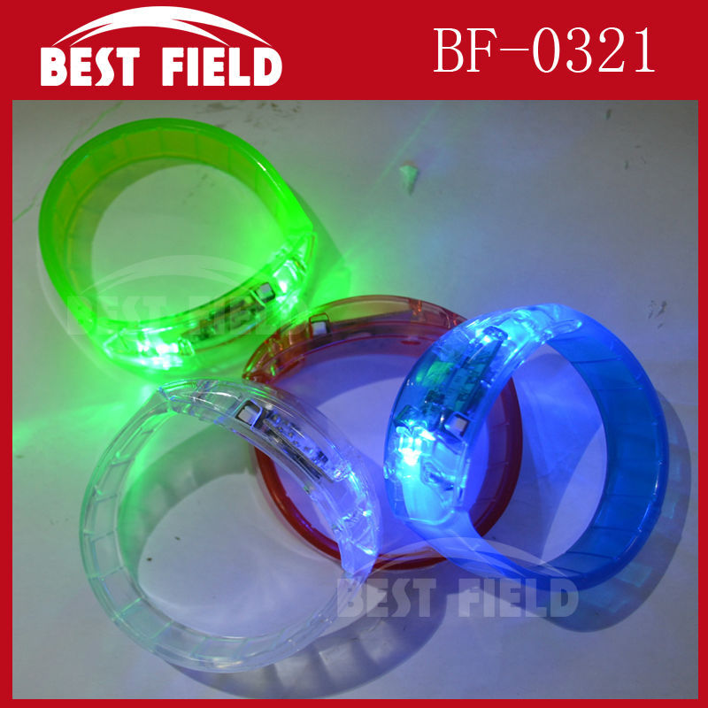 Free shipping make LOGO led voice control Bracelet flashing Wristband sound activated bracelet for Christmas halloween party