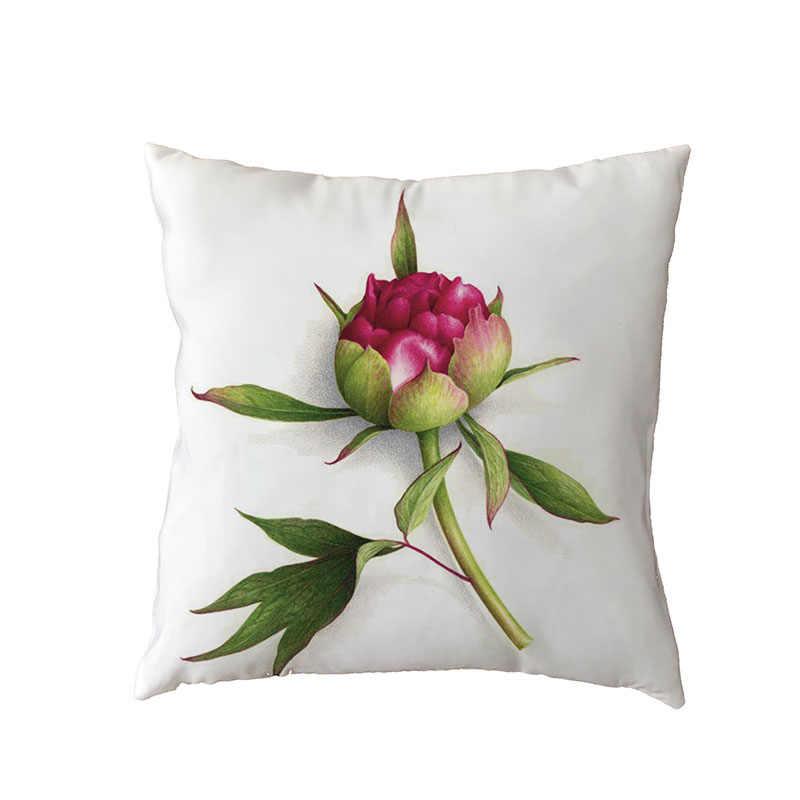גבוהה באיכות לזרוק לבן אדום סגול פרח מוצק רקע עלה בית חדר שינה ספת סלון דקור כרית כיסוי