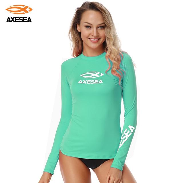 8dc6810b3c AXESEA Swimsuit Women Long Sleeve Rash Guard Top Sun Protection Solid  Swimwear Sport Swim Shirt Surf Top Girls UPF 50+ Rashguard