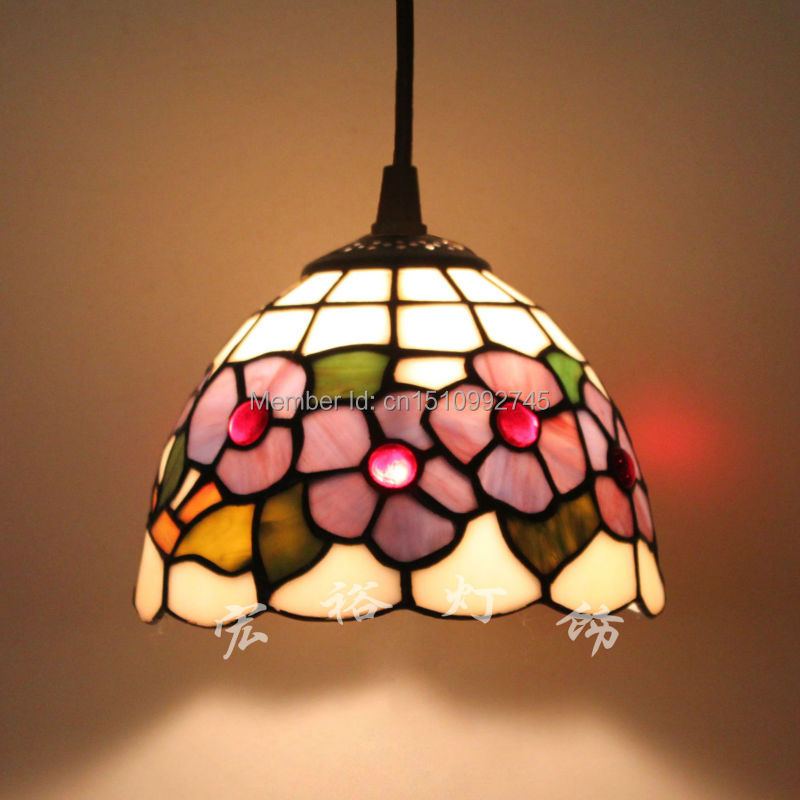 Antique Tiffany Hanging Lamp Value: Vintage Tiffany Lamp Pendant Light Floral Style Stained