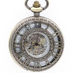 Модные мужские карманные часы римская цифра резьба полые прозрачные синие римские цифры аналоговые повседневные механические Fob часы