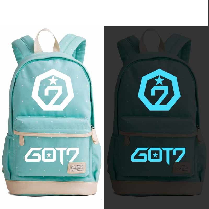Got7 Fans Canvas Luminous Backpack Bag Flowers Point School Teenagers Student Book Travel Laptop Girl Bag Gift Price Remains Stable Backpacks