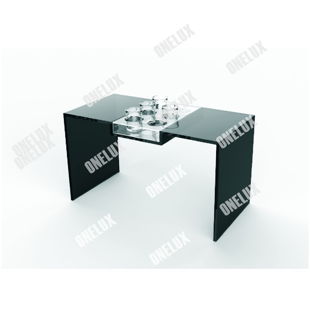 clear acrylic tea table plexiglass lucite coffee table w cup holder - Lucite Table