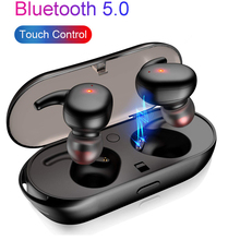 HANTOPER Bluetooth Earphone 5.0 Mini TWS Wireless Headset Touch Control Sport Ear Stereo Cordless Earbuds with Charging box