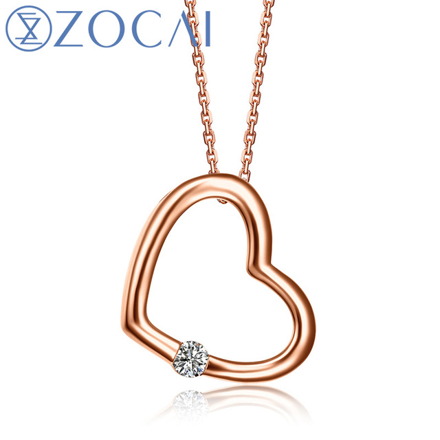 ZOCAI Heart Shape 18K Rose Gold 100% Natural 0.04 CT Certified Diamond Pendant with 925 Silver Chain Necklace D00505