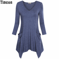 Womens V-Neck Asymmetrical Hem Long Sleeve Knitted Long Tunic Tops with Pockets Black Casual Plus Size Shirt Solid Blouse Female