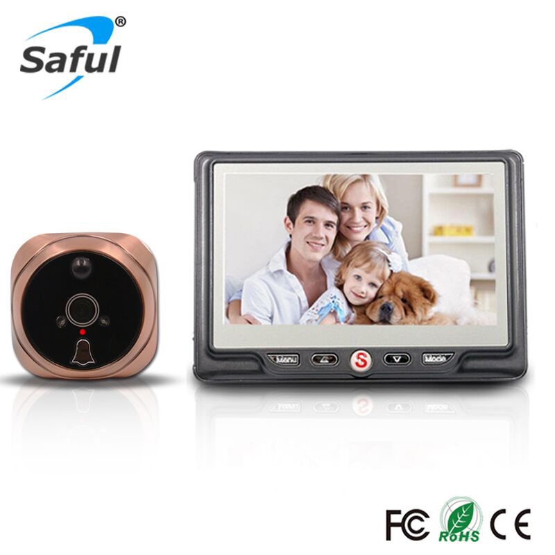 Saful 4.3 Peephole Camera LCD Screen Wireless Doorbell IR Night Vision Recordable Digital Door Camara Viewer for Smart Home