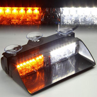 12V Car Warning Lights 16 LED Strobe Auto Signal Flashing Warning Light Police Emergency Lamp Amber Yellow White