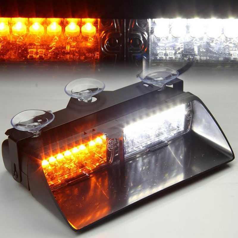 12V Car Warning Lights 16 LED Strobe Auto Signal Flashing Warning Light Police Emergency Lamp Amber Yellow White 12v car strobe lights 8 led auto warning light waterproof signal flashing emergency lamp for suv truck windshield flash light page 1