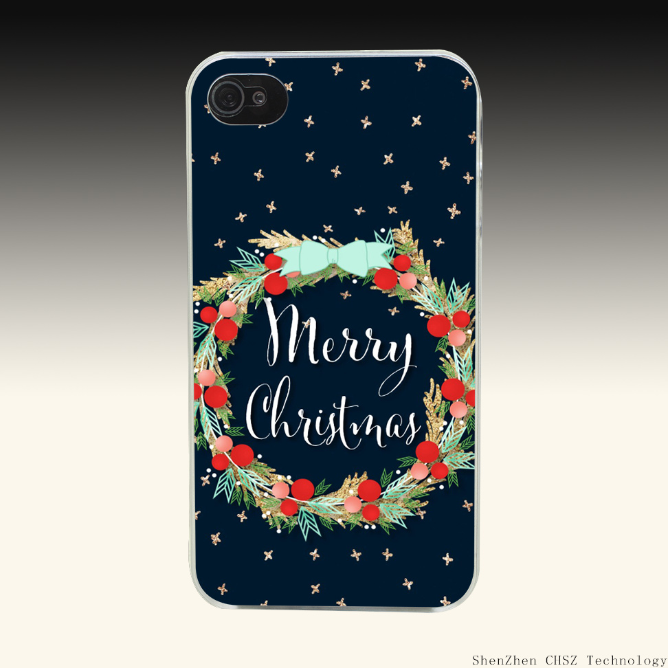 400R Merry Christmas Mistletoe Hard Clear Case Transparent Cover for iPhone 4 4s 5 5s SE 6 6s 7 Plus