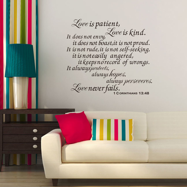 Quote Love Is Patient Best Large Size Family Stickers Romantic English Quote Love Is Patient