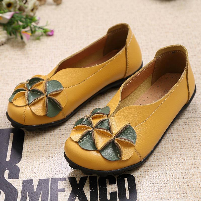 Mujeres del Cuero genuino de Los Zapatos de Moda Casual Zapatos de Mujer transpi
