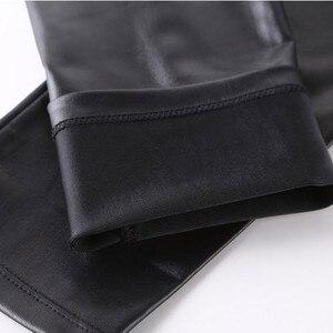 Image 3 - 2018 mulheres de alta elasticidade fina couro do falso leggings tamanho grande Xl 5XL calças de couro imitação magro preto brilhante mais leggings