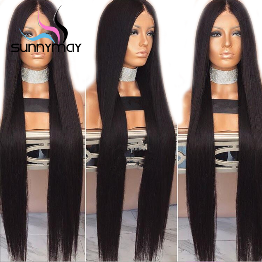 Sunnymay Pre Plucked Full Lace Human Hair Wigs With Baby Hair 130% Density Remy Glueless Straight Full Lace Wigs Bleached Knots