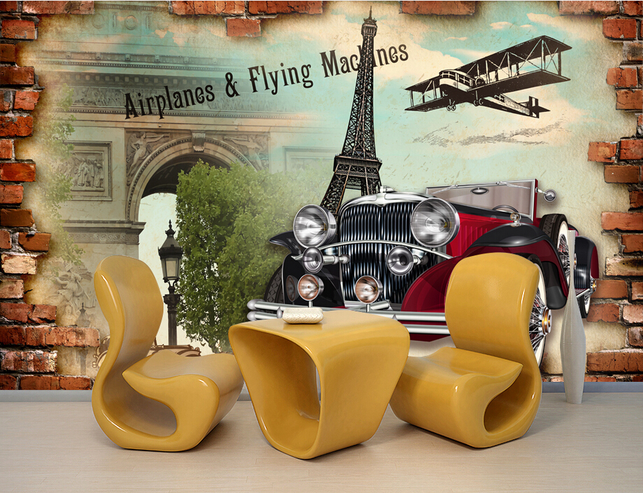 Custom papel de parede,Paris retro nostalgia classic cars wallpaper,living room tv sofa wall bedroom 3d wall murals wallpaper into the wild nostalgia retro classic movie kraft poster painting core 51x35 5cm