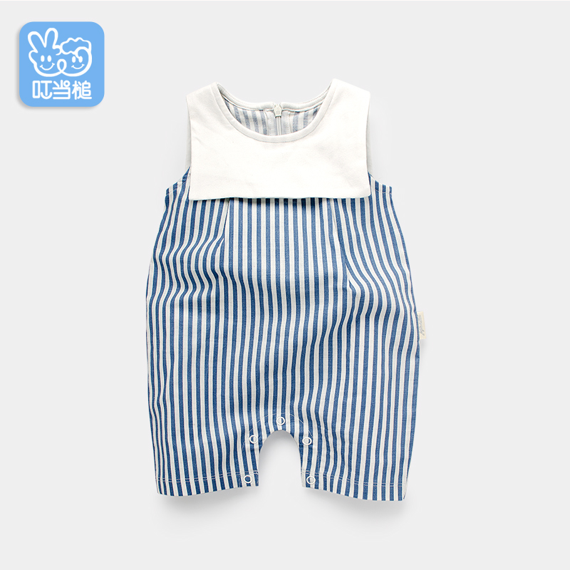 Dinstry 2019 Summer Baby boy rompers baby girl rompers Newborn baby clothes striped Britain style romper baby jumpsuit