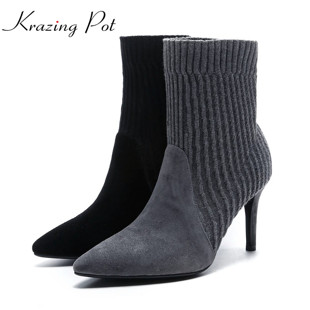 Krazing Pot sheep suede knitting pointed toe slip on thin high heel vintage high street fashion model runway mild-calf boots L50 krazing pot empty after shallow shoes woman lace work flats pointed toe slip on sheep suede causal summer outside slippers l16