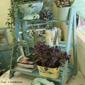 KD Distressed Chic Aqua Blue 3 Steps Solid Wood Vintage Ladder Shelf